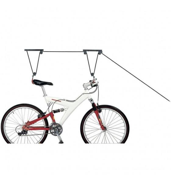 Poulie retient le vélo au plafond
