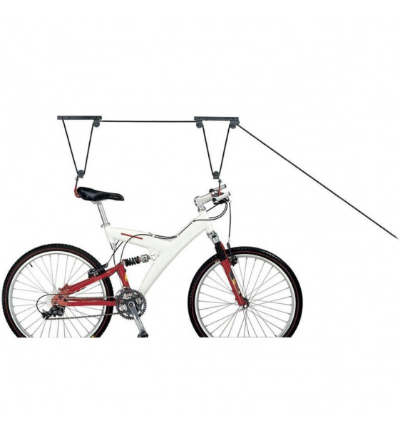 Pulley Holds Bike to the ceiling