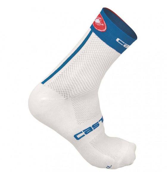 Calcetines Castelli Free 9cm blanco azul