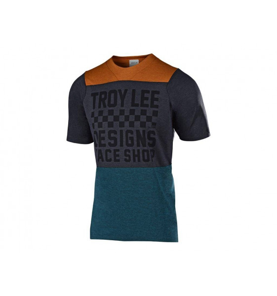 Camiseta Troy Lee Skyline S/S Air Jersey 2019 Checkers Htr Clay / Cadet S