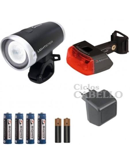 Kit Sigma Faro lightster+intermitente cuberider + pilas