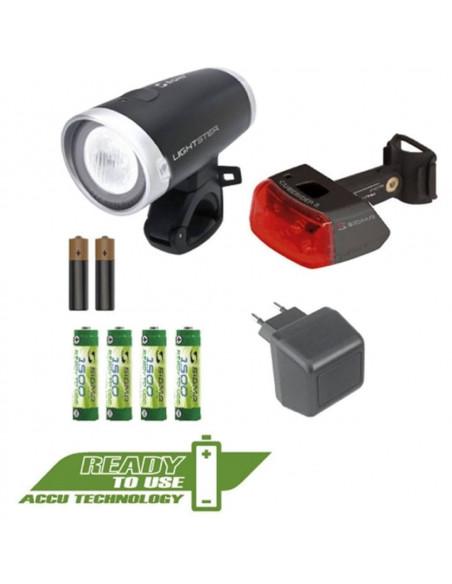 Kit Sigma faro lightster+intermitente cuberider ll + pilas + cargador